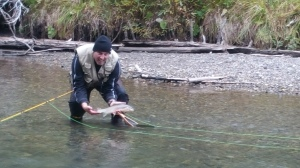 Randy with a big dry fly fish!